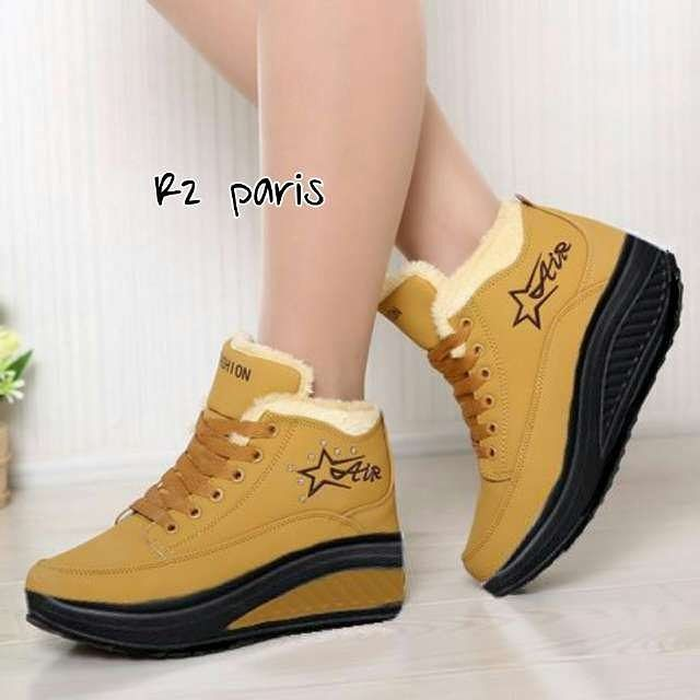 Sneakers Wedges R2 Material Suede Harga 165 Warna Kuning Tua