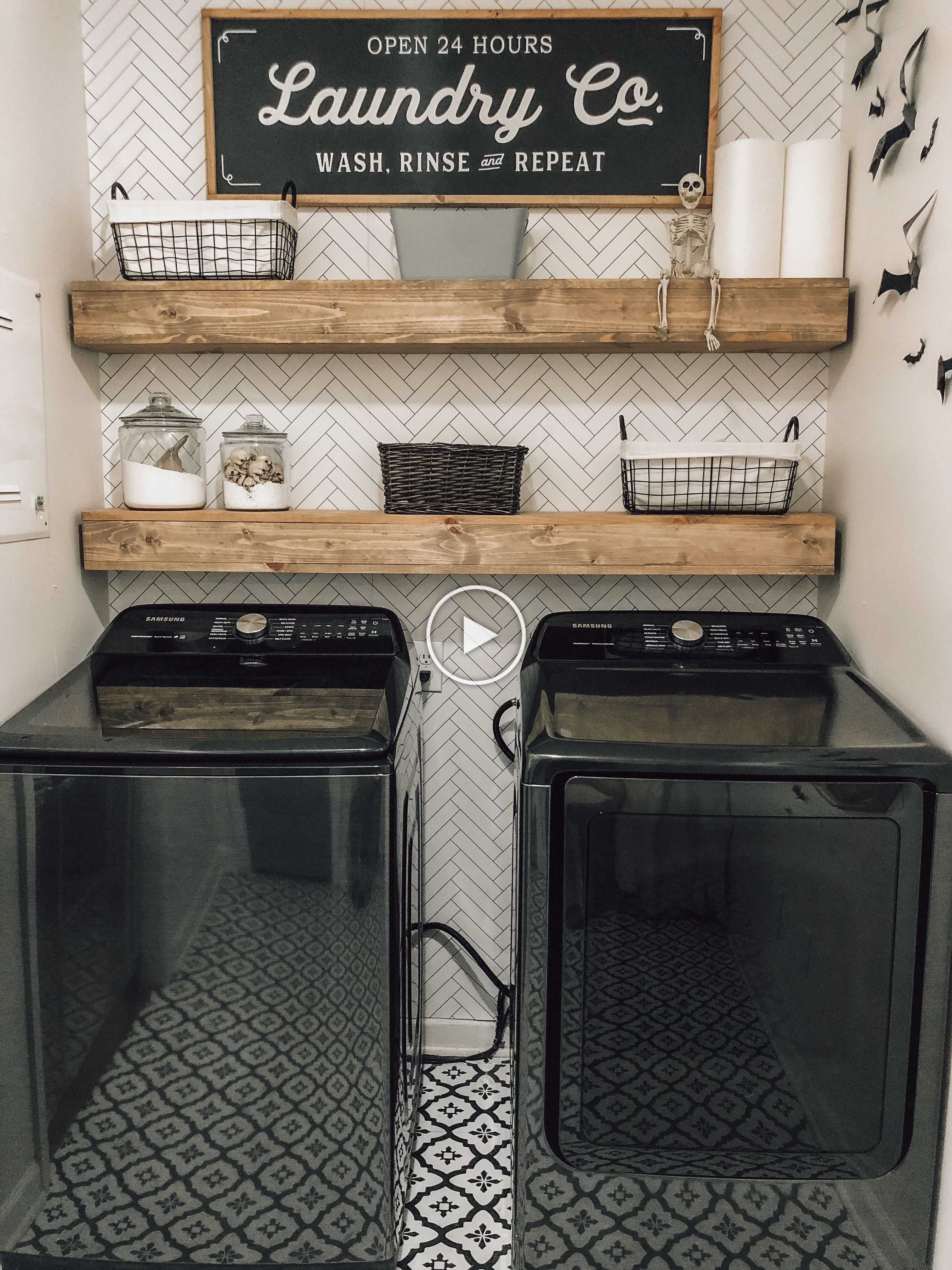 Diy Laundry Room With Wallpaper Peel And Stick Tile Flooring Diy Shelving And Samsunghomeap Laundry Room Diy Farmhouse Laundry Room Laundry Room Renovation