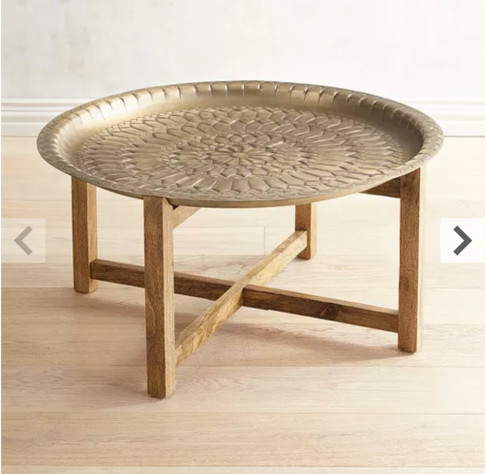 Moroccan Gold Tray Coffee Table Moroccan Furniture Round Wood