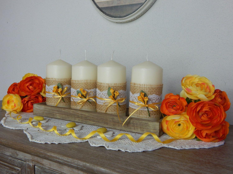 Candele Decorate Fiore Giallo Set Di Nr 4 Candele