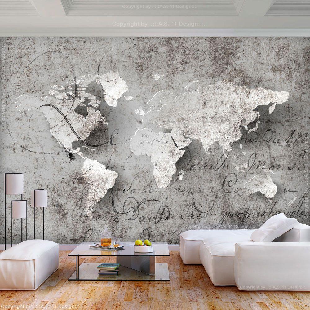 VLIES FOTOTAPETE Weltkarte grau Landkarte Beton TAPETE WANDBILDER
