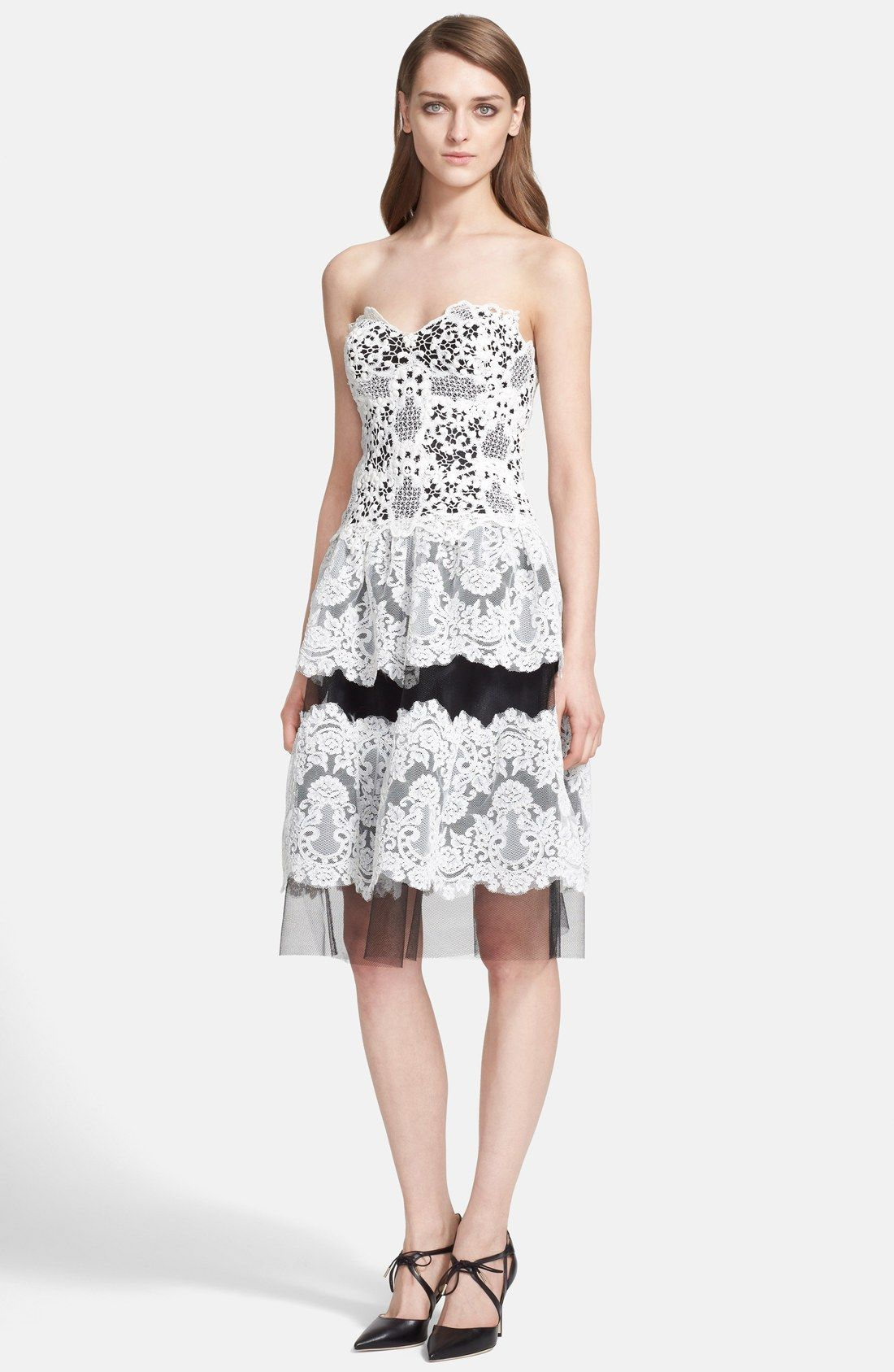 Naeem Khan Mixed Lace Strapless Dress | Nordstrom