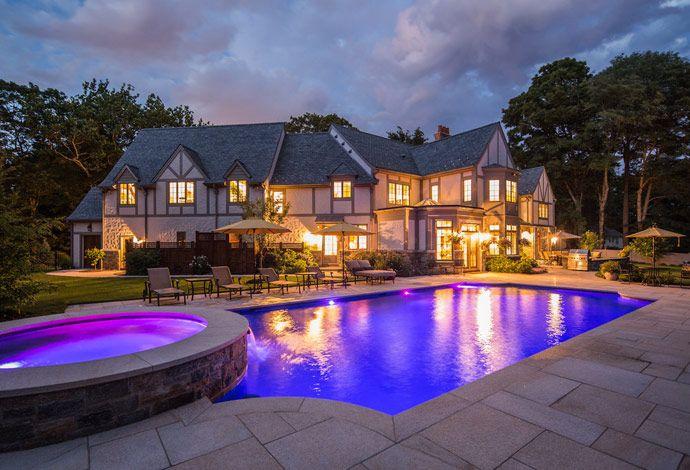 Led Lights Granite Deck And Waterfall Pool Backyard
