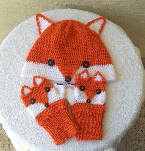 Fox gants, taille adulte, renard mitaines, propre conception fox femmes gants, gants animales, cadeau pour elle, cadeau pour lui, cadeau pour bff de crochet