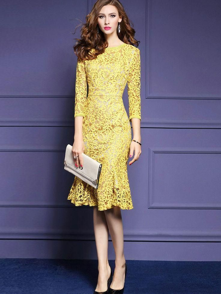 4c4795ed40bbb This Chicloth Yellow Round Neck Long Sleeve Elegant Floral Lace Hollow  Bodycon Dress is?such an easy way to look effortlessly chic!?
