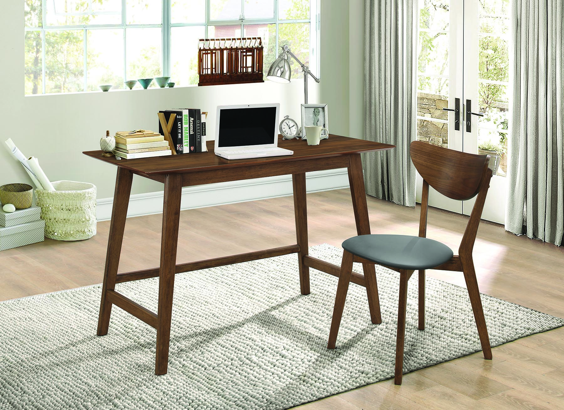 Camila Collection 801095 2 Piece Walnut Finish Desk And Chair Set  # Muebles Coaster