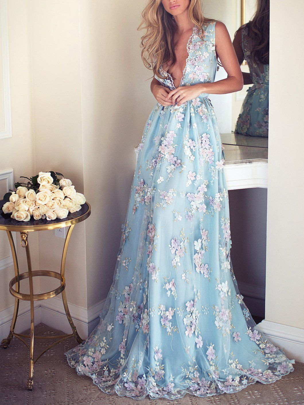 Sky blue floral prom dresses see through embroidery formal dress
