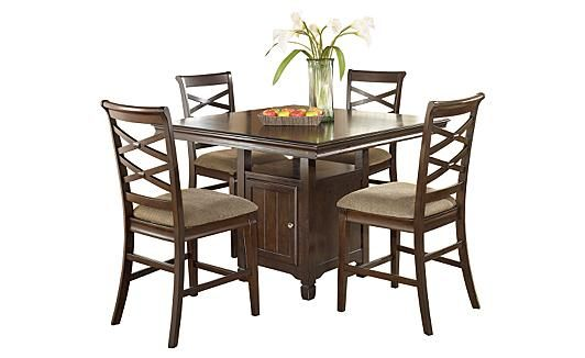 Trudell Dark Brown Rectangular Extendable Dining Table ...