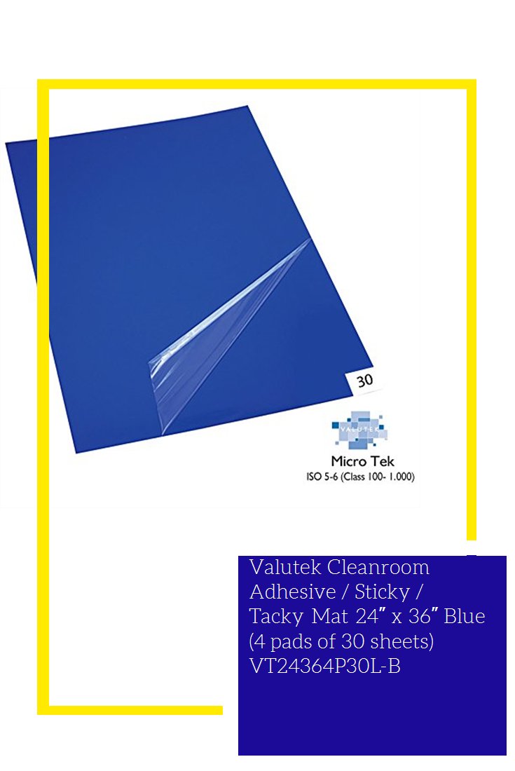 Valutek Cleanroom Adhesive Sticky Tacky Mat 24 X 36 Blue 4 Pads Of 30 Sheets Vt24364p30l B New Tacky Adhesive Sticky