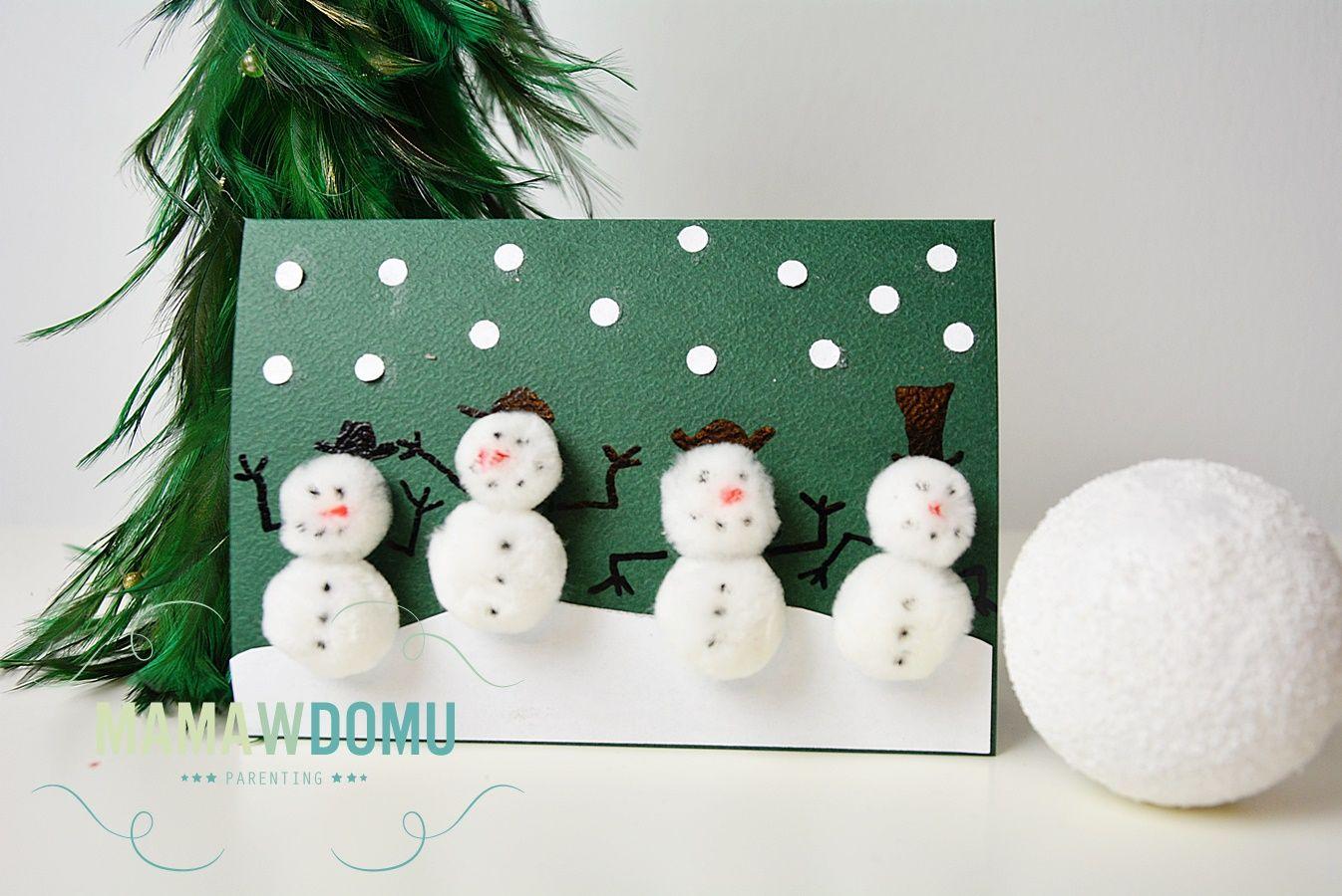 Pomysly Na Kartki Swiateczne Recznie Robione Mama W Domu Handmade Holiday Art For Kids Xmas Cards