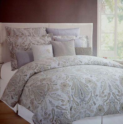 Hillcrest Paisley Floral King Duvet Cover Set Shams Taupe Grey Beige Sage White King Duvet Cover Sets Duvet Cover Sets Feminine Bedroom