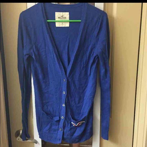 blue hollister cardigan