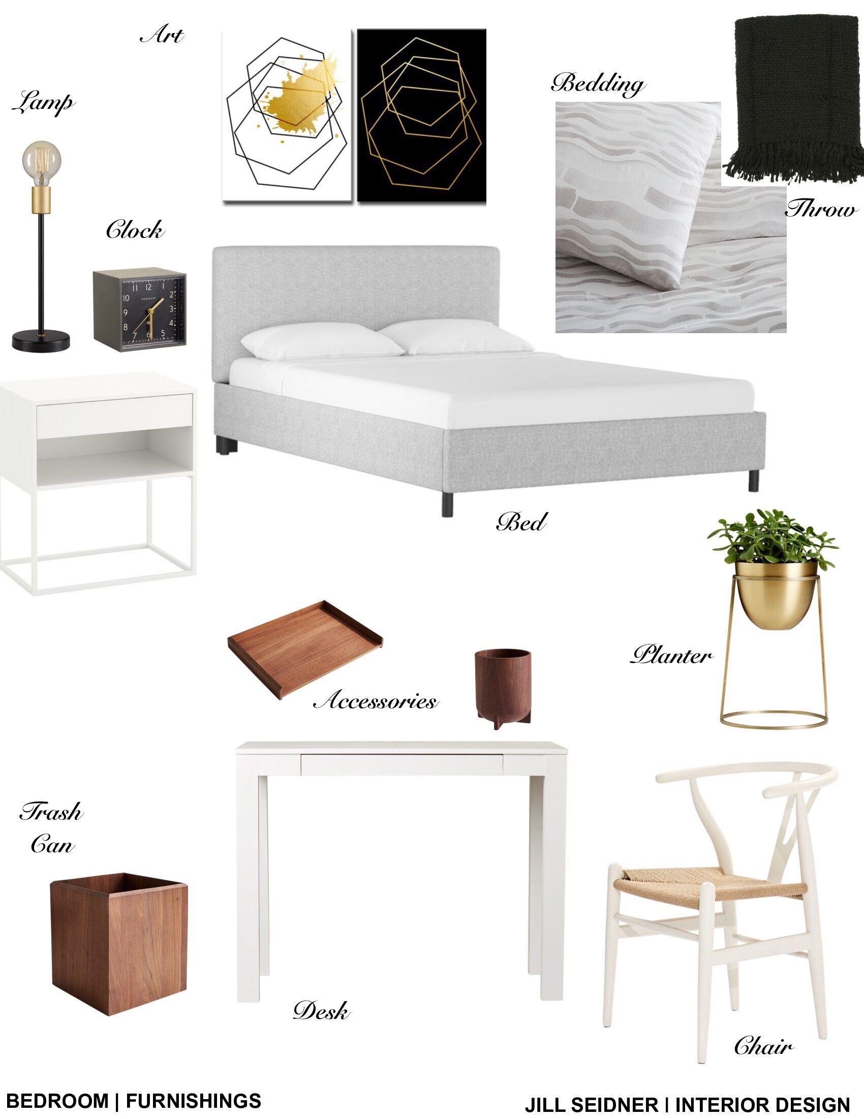 Bedroom Creator Online: Downtown LA Apartment Bedroom 1 Furnishings Concept Board