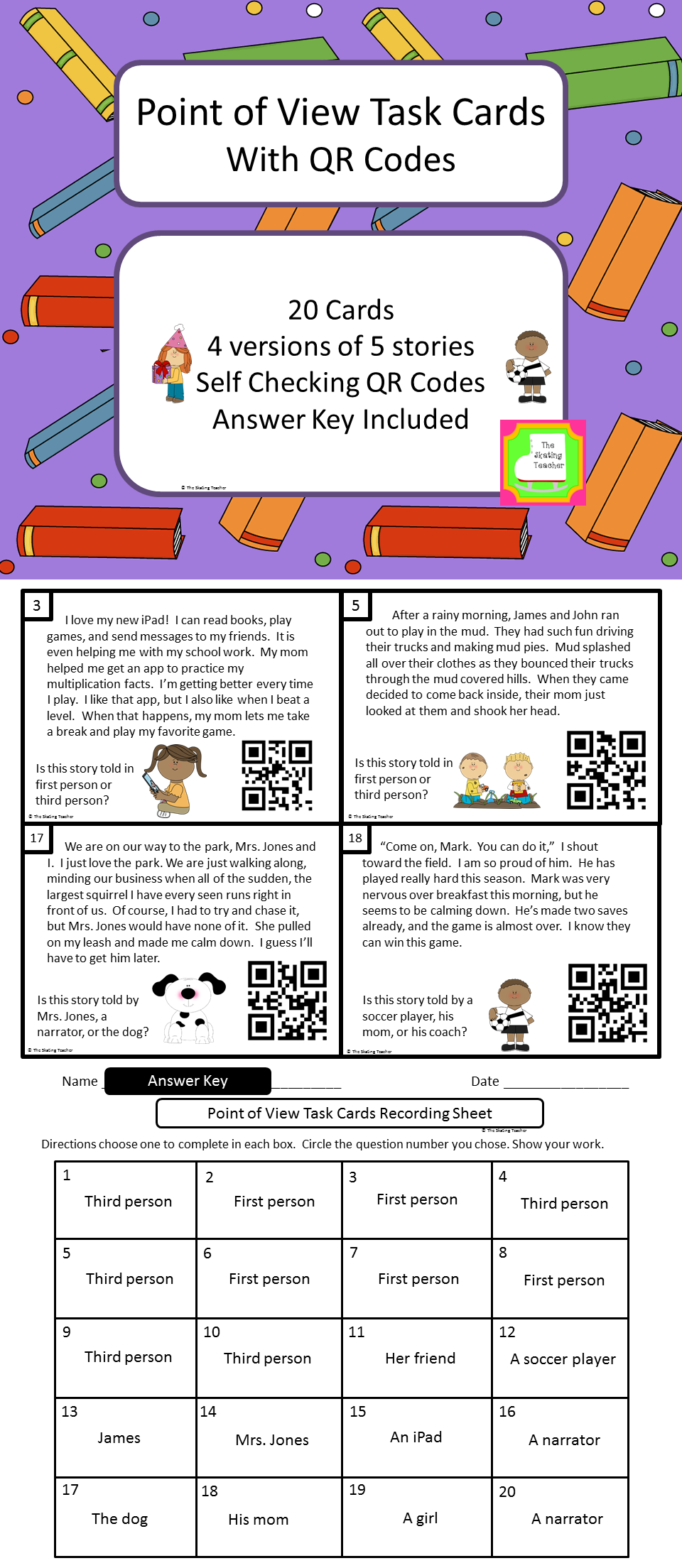 point of view task cards first or third person and identifying these task cards help students practice identifying the point of view in a fictional story 10 cards have students choose between first and third person