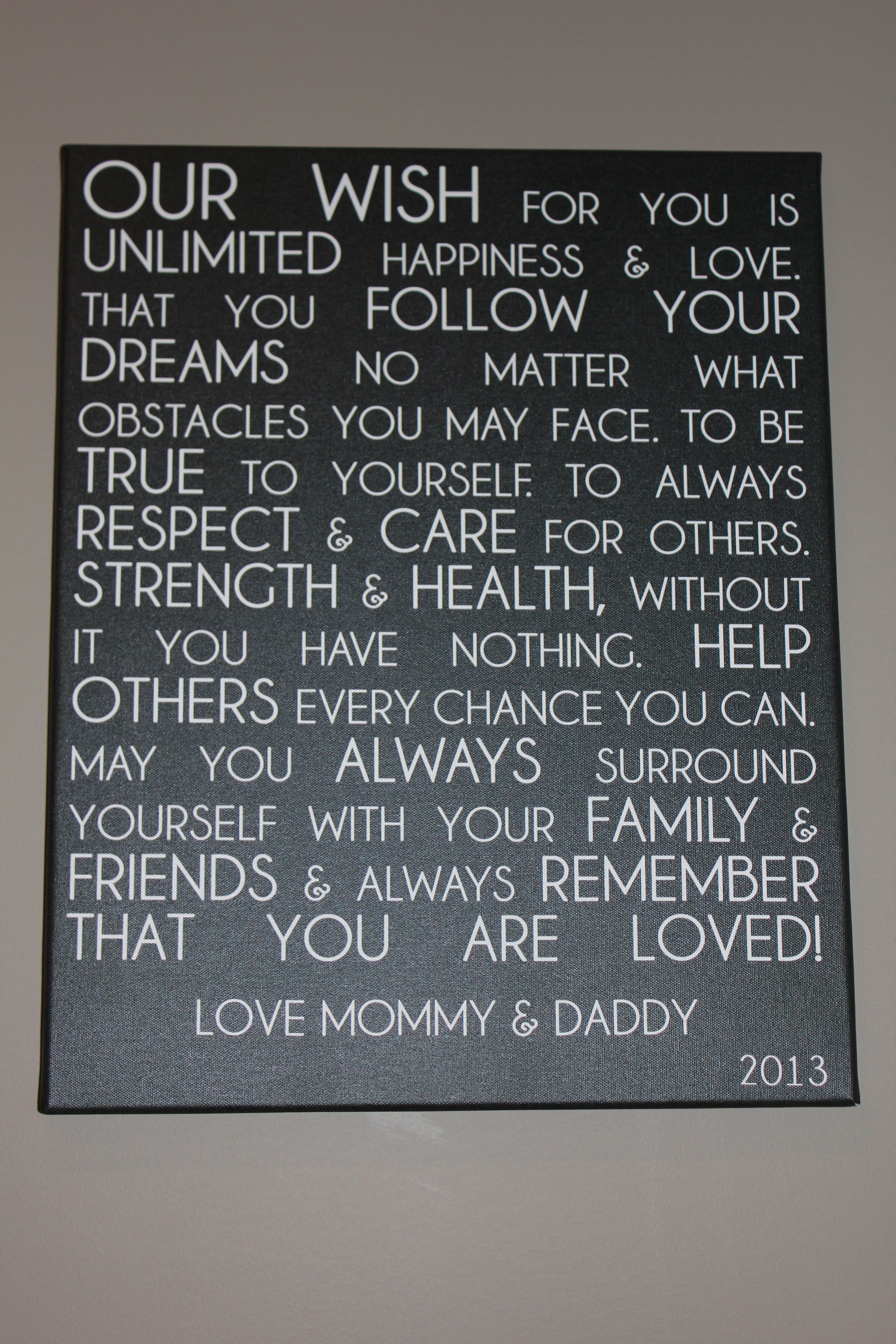 See more inspirational parenting quotes when you follow me on - Letter From Parents To Child On Canvas Unique Custom Word Art For Your Home Decor