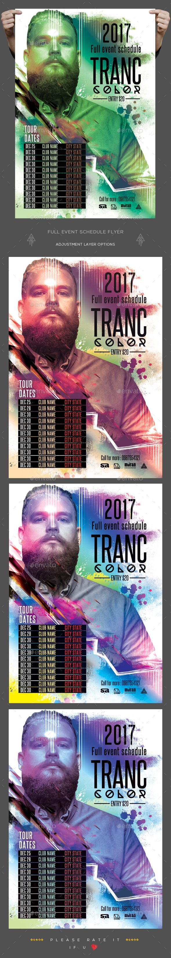 Full Event Schedule Flyer  Flyer Template Party Flyer And