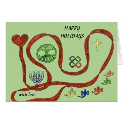 Holiday card with symbols for major holidays - christmas cards merry