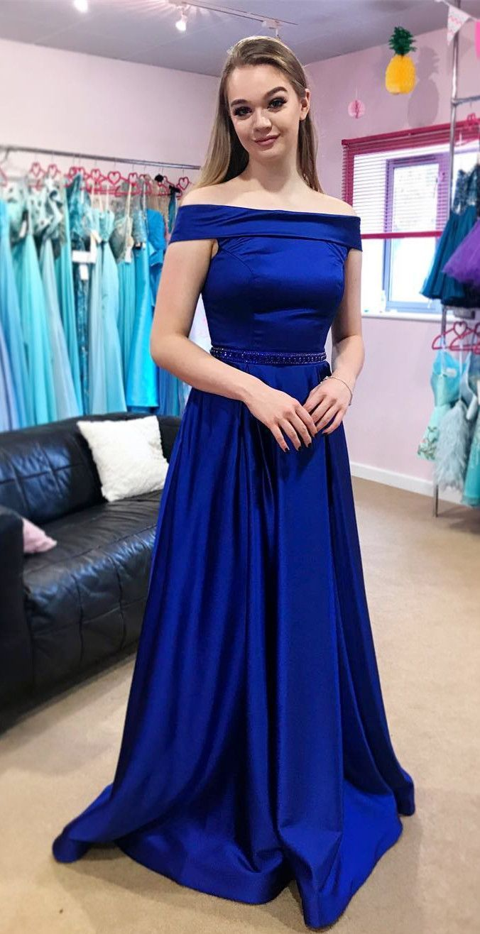 A-Line Off-the-Shoulder Sweep Train Royal Blue Satin Prom Dress with ... 9ebc40bbf13e