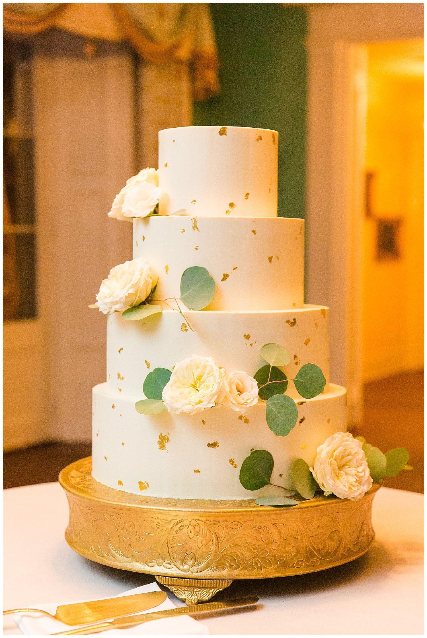 4 Tier Gold Flake Wedding Cake The William Aiken House