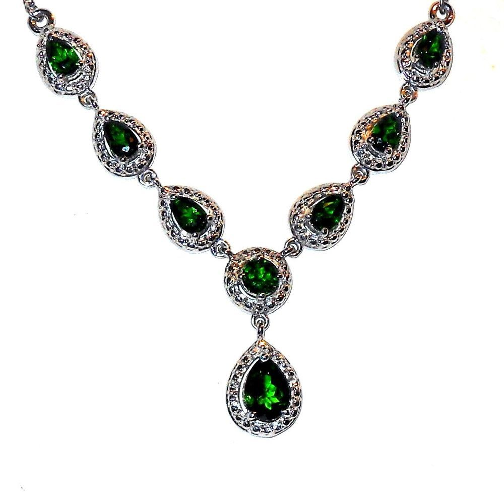 Russian chrome diopside necklace 315 carats pear shape unbranded russian chrome diopside necklace 315 carats pear shape unbranded necklace ebay aloadofball Image collections