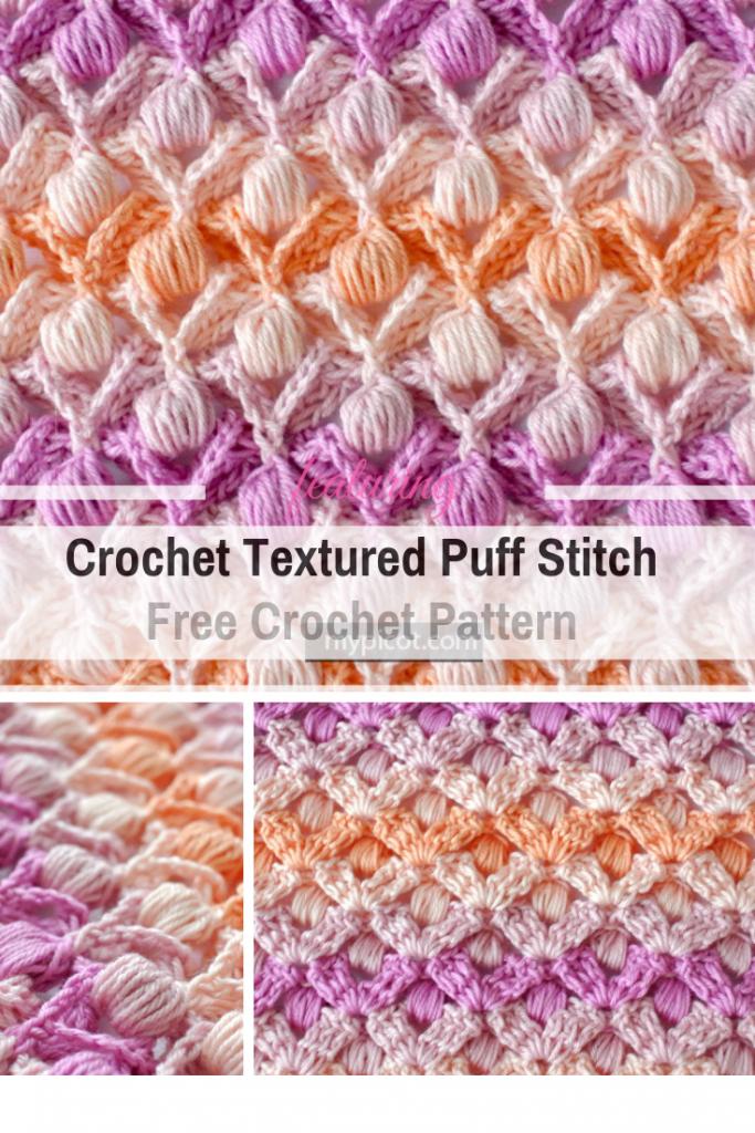 Learn A New Crochet Stitch: Crochet Textured Puff Stitch #crochetstitches