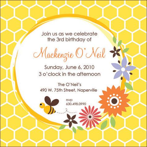 Love the pops of colorflowersgoes with the bees in the garden – Bumble Bee Party Invitations