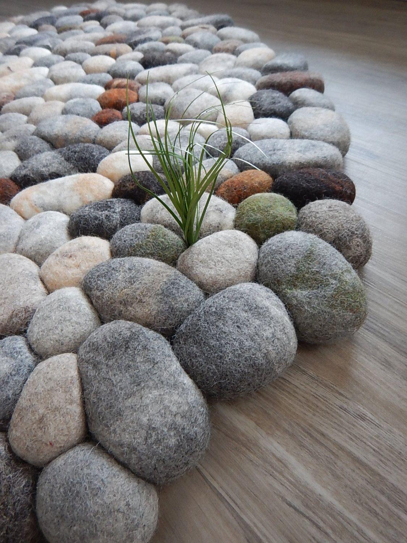 Felt stone rug / bath mat super soft with soft core wool | arte del ...
