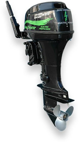 Aquawatt green power electric outboard motor at sea in a for Green boat and motor