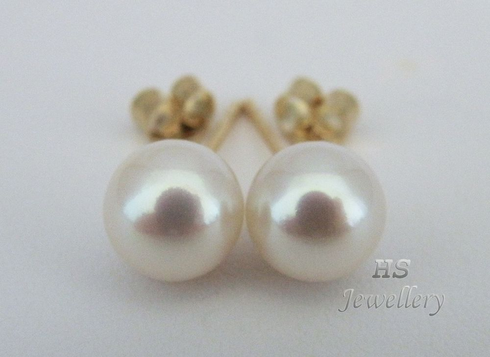 AAA Japanese Akoya Cultured Pearl 7-8mm 14K White Gold Stud Earring