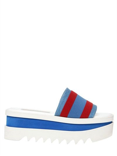 c29f330c17e Browse and shop Stella Mccartney Stripe Denim Slide Platform Sandals in  BLUE RED from the world s best luxury designer boutiques at Modalist