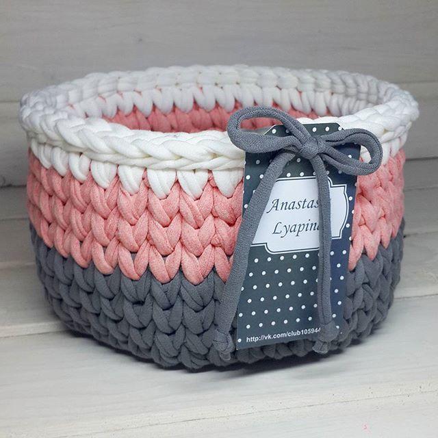 Canasta de hilo totora crochet y tejido pinterest - Cestas de trapillo ...