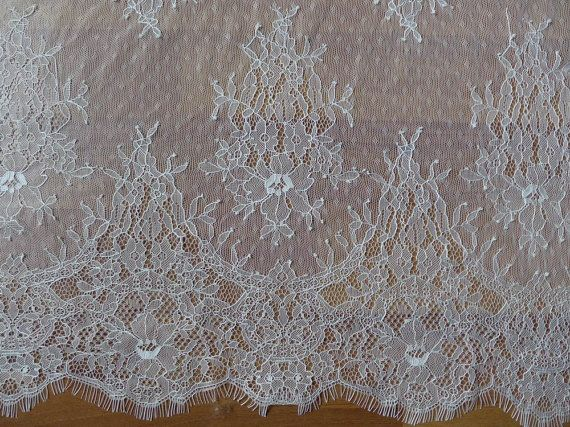 SALE White French Chantilly Lace Fabric Elegant by lacelindsay