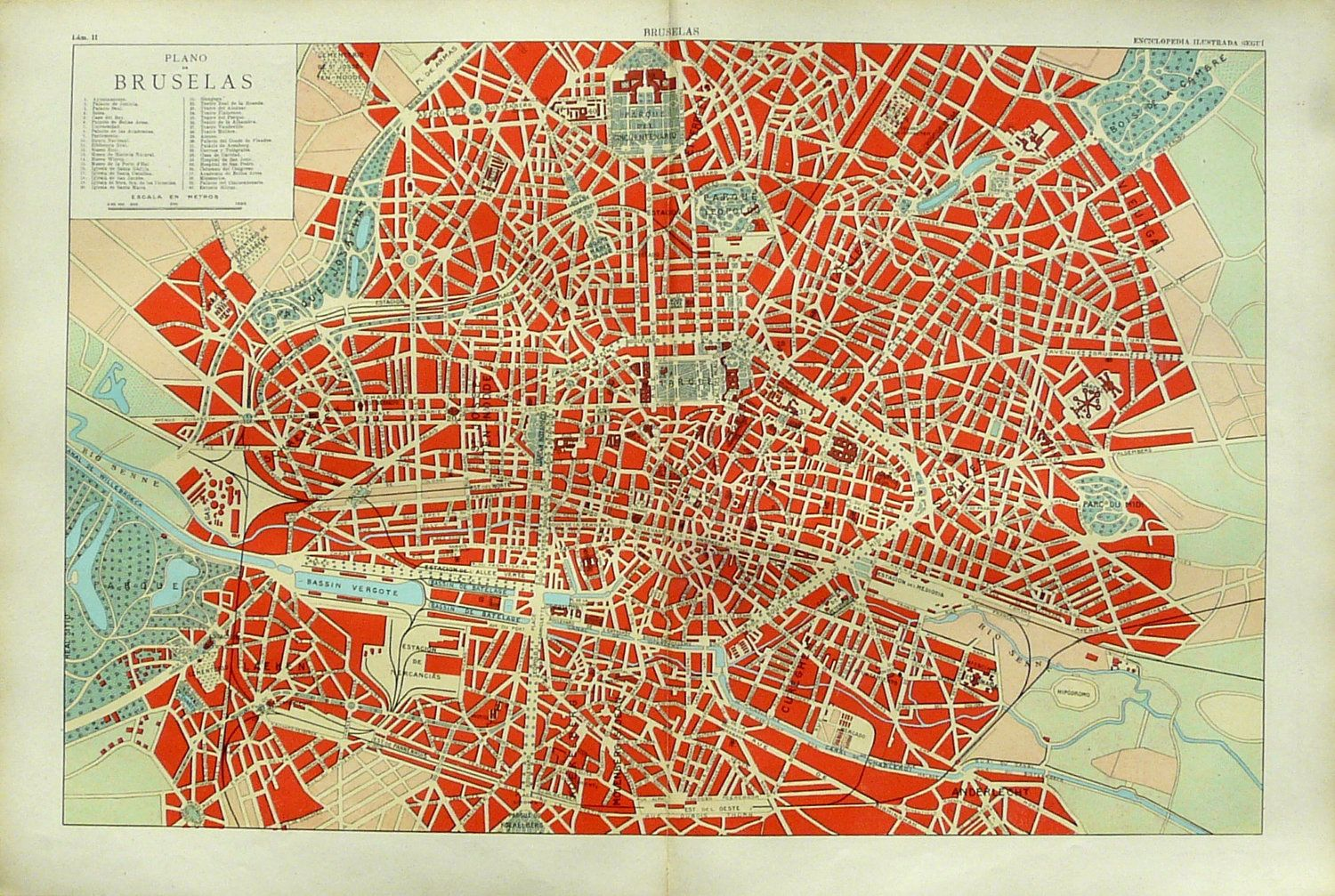 1900 antique rare city map of brussels belgium 112 years old map