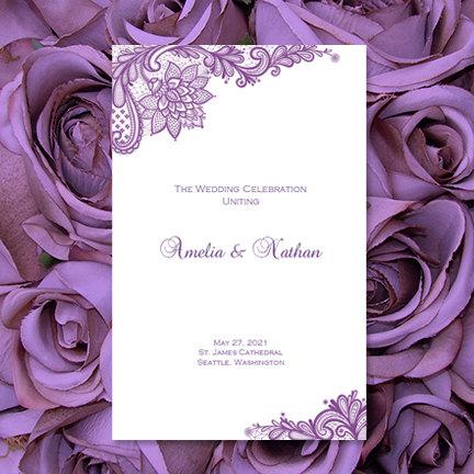 Wedding Program Template Vintage Lace Purple by WeddingTemplates