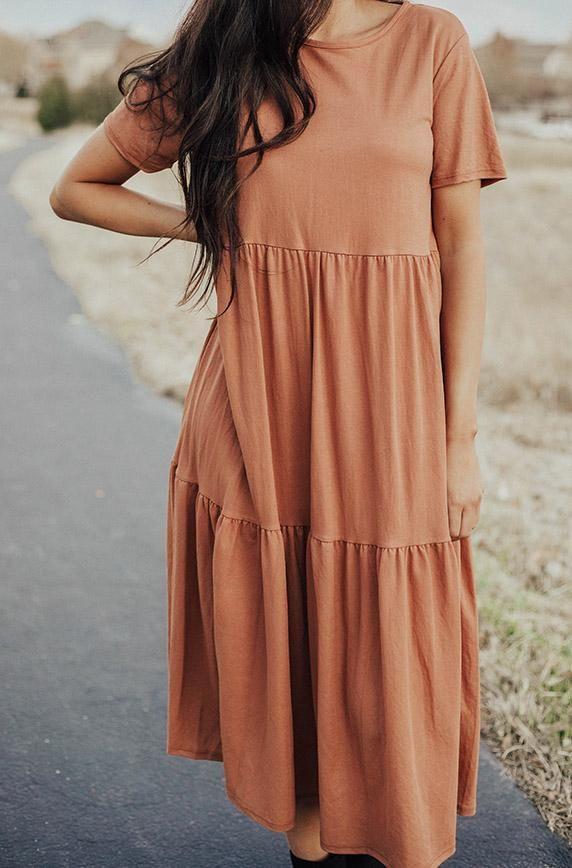 Kamryn Rust Tiered Dress