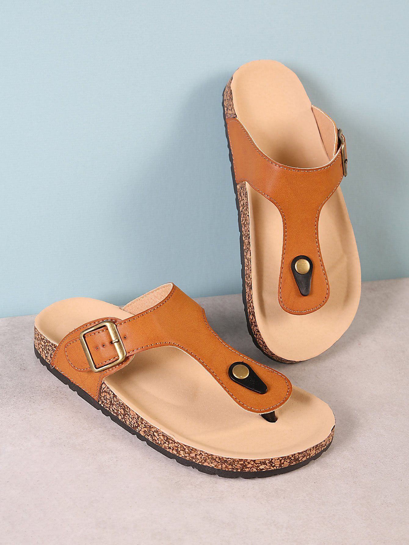 bbbd2fab0ae Cork Footbed Slide Sandal with Buckled T-Strap Thong TAN in 2018 ...