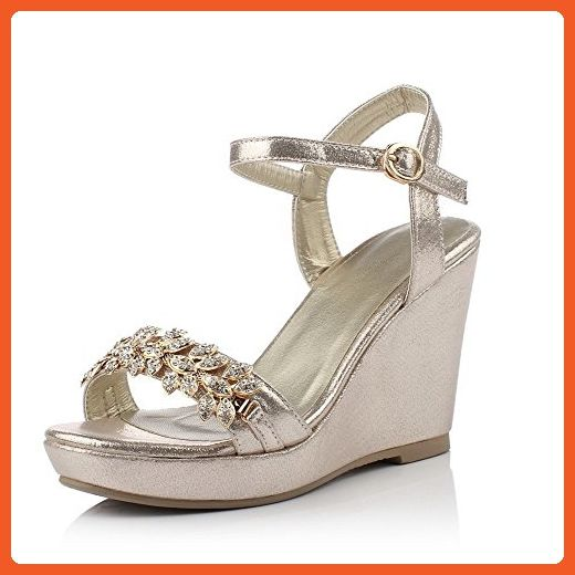 AllhqFashion Women s Peep Toe Buckle Blend Materials Solid High-Heels  Sandals 1a5a6fdfc095