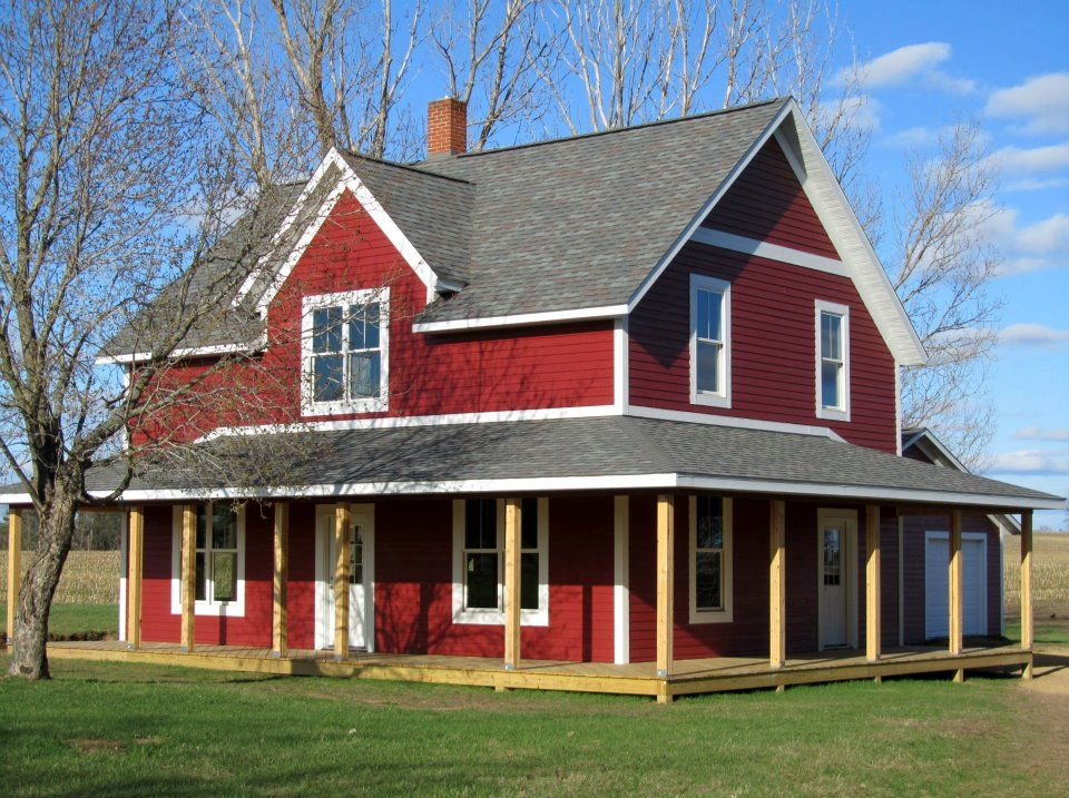 Lp smartside siding trim color is cinnabar farmhouse for Farmhouse style siding