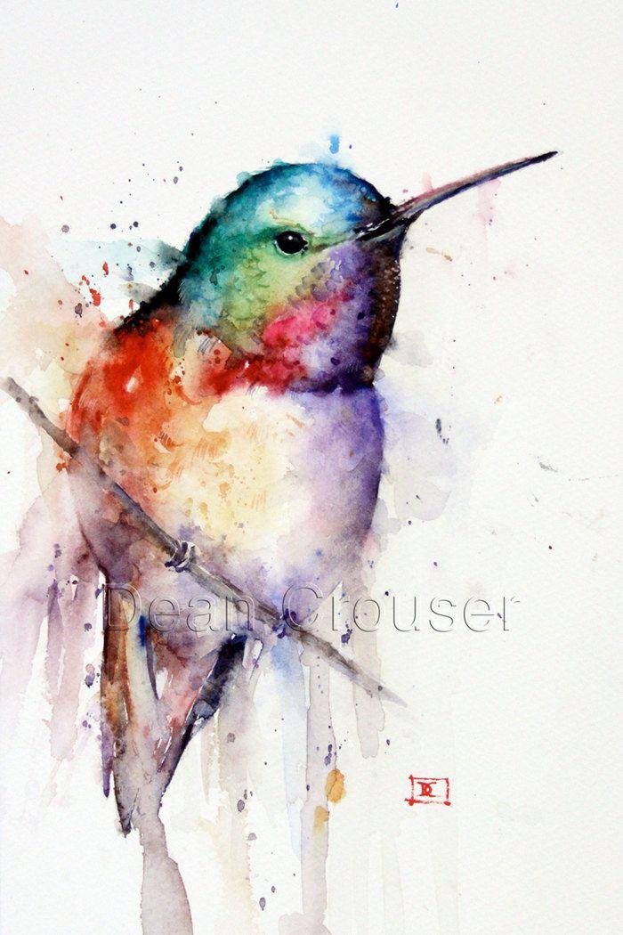 HUMMINGBIRD+Watercolor+Print+by+Dean+Crouser+by+DeanCrouserArt,+$25.00