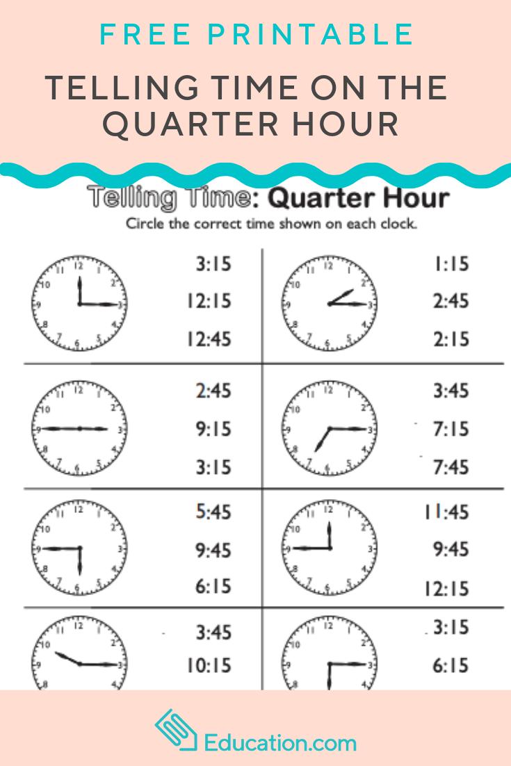 telling time on the quarter hour match it printables kindergarten math 1st grade. Black Bedroom Furniture Sets. Home Design Ideas