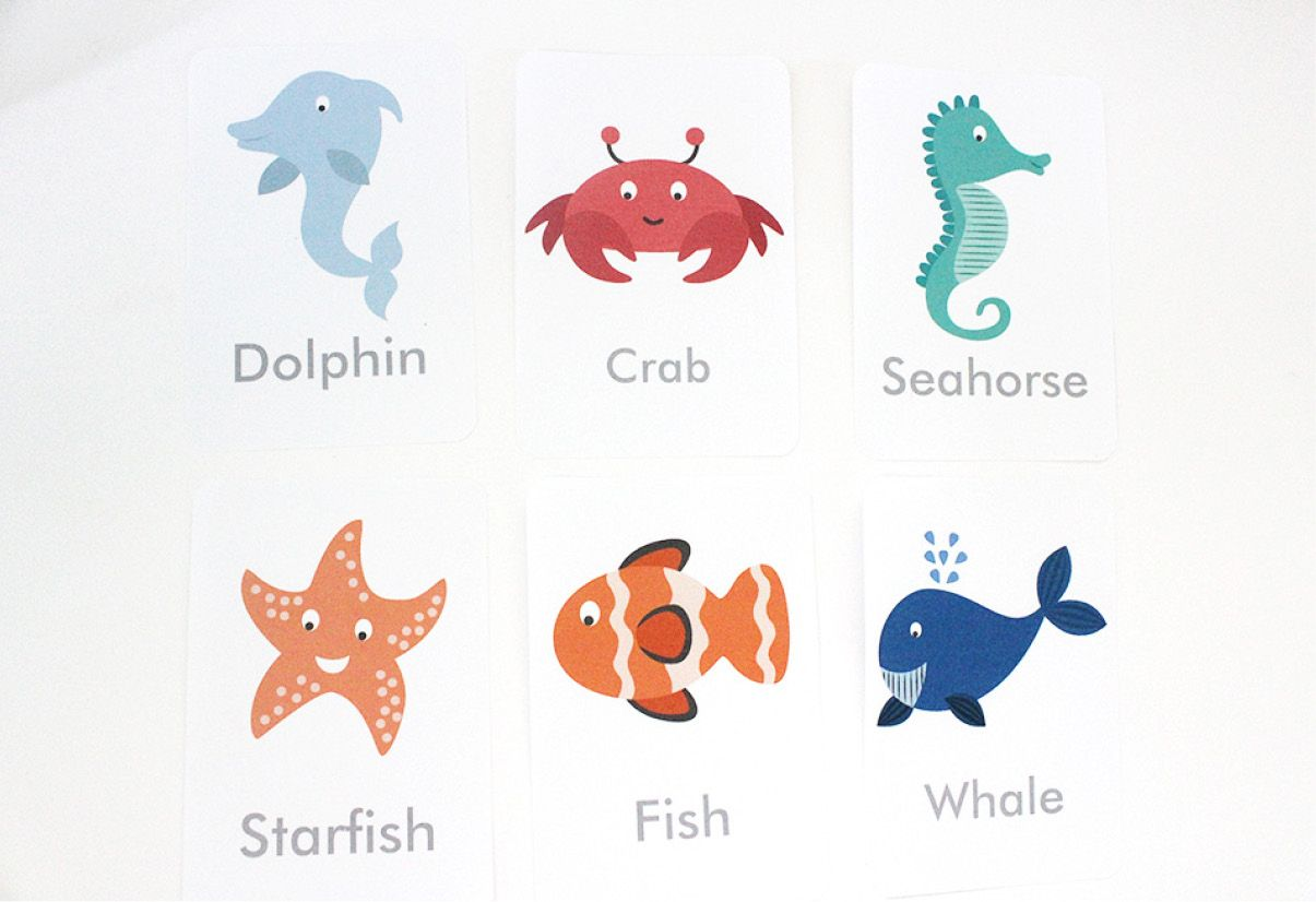 Free Printable Under The Sea Flash Cards With Images