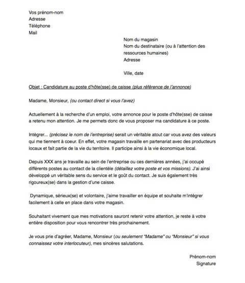 lettre de motivation pour un poste d u0026 39 h u00f4te sse  de caisse