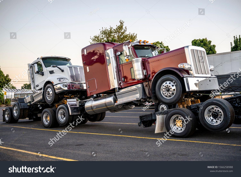Big Rig Black Powerful Semi Truck Transports New Semi Trucks