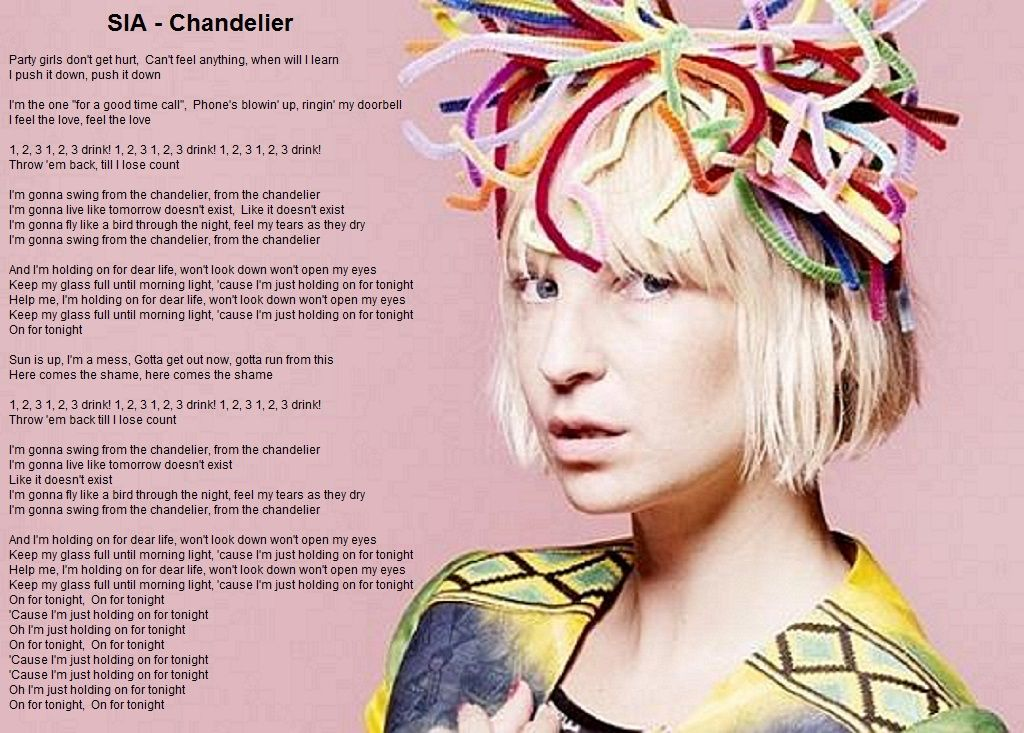 Sia Chandelier - Lyric image | Music that inspires | Pinterest ...