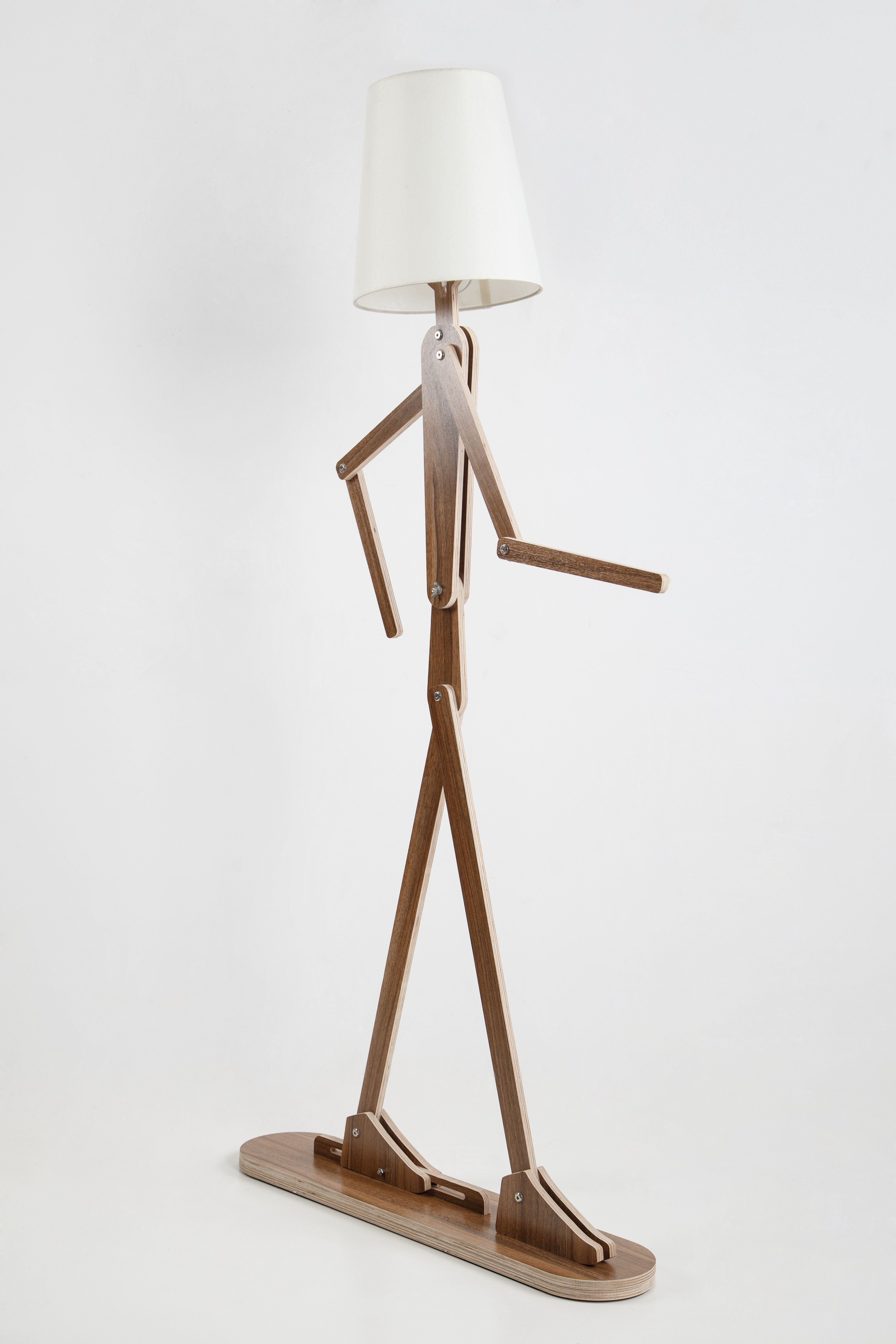 DIY Fancy Human Shape Standard Lamp With Flexible Arm  Rustic Wooden Home  Lighting With Four