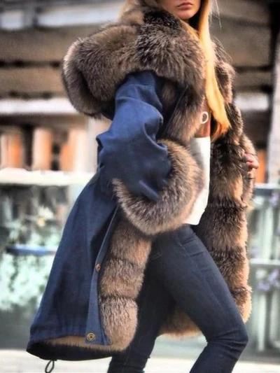 Womens Mongolian Sheep Fur Outwears Loose Parka Jacket Clubwear Coat Overcoat sz