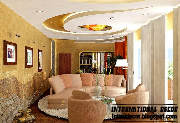 Ceiling Ideas For Living Room design ideas living room wooden plank pop false ceiling gharexpert Modern False Ceiling Design Ideas For Modern Living Room Modern Gypsum Ceiling