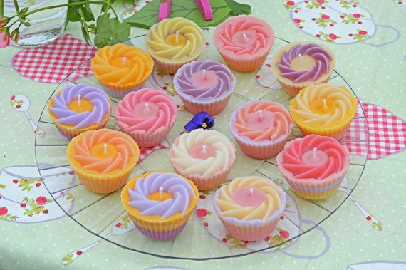 Original design Handmade Scented Cup Cake Candles by GrannyThimble