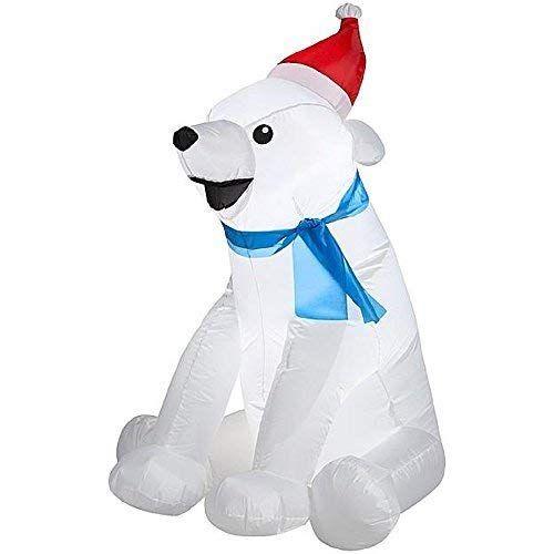 CHRISTMAS INFLATABLE BABY POLAR BEAR WITH SANT HAT  SCARF