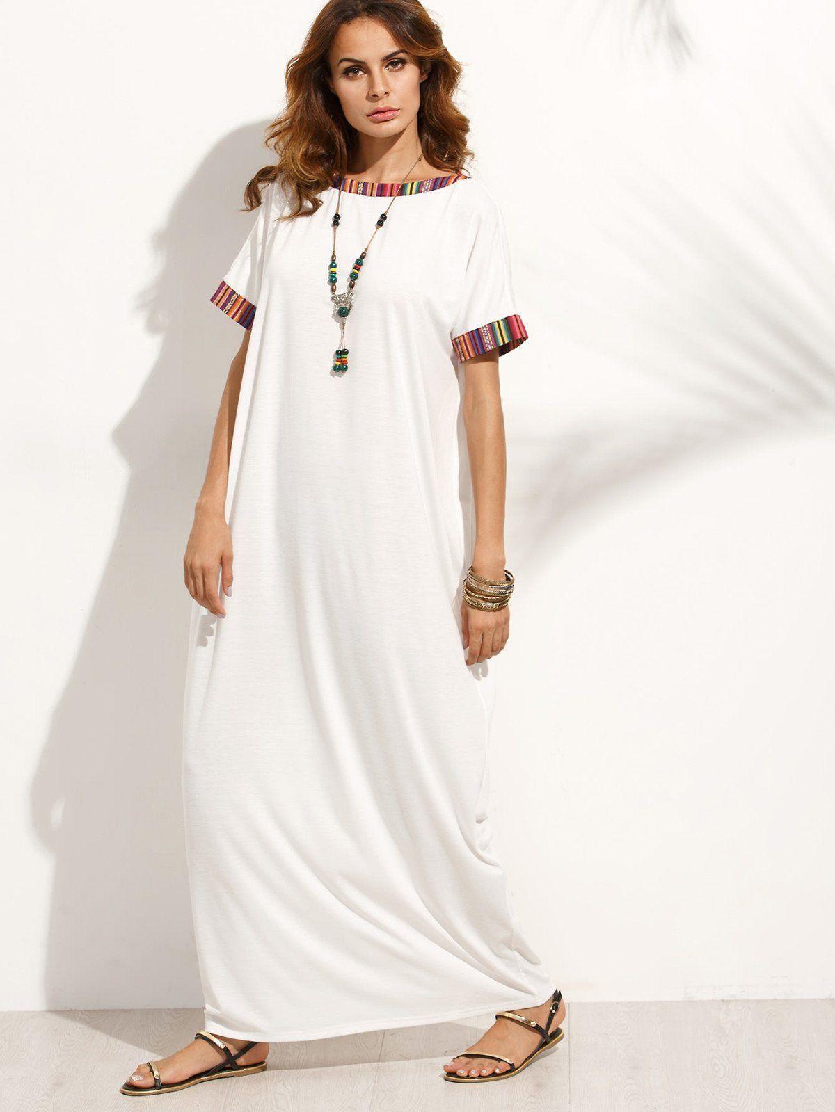 Contrast striped trim full length dress full length dresses tunic